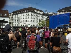 Critical Mass auf der mittleren Rheinbrücke